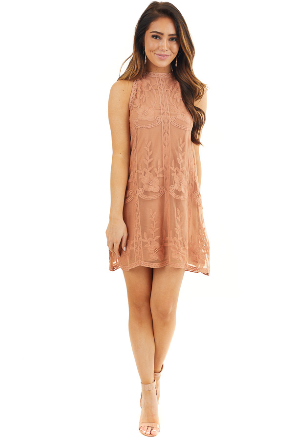 Terracotta Floral Embroidered High Neck Mini Dress front full body