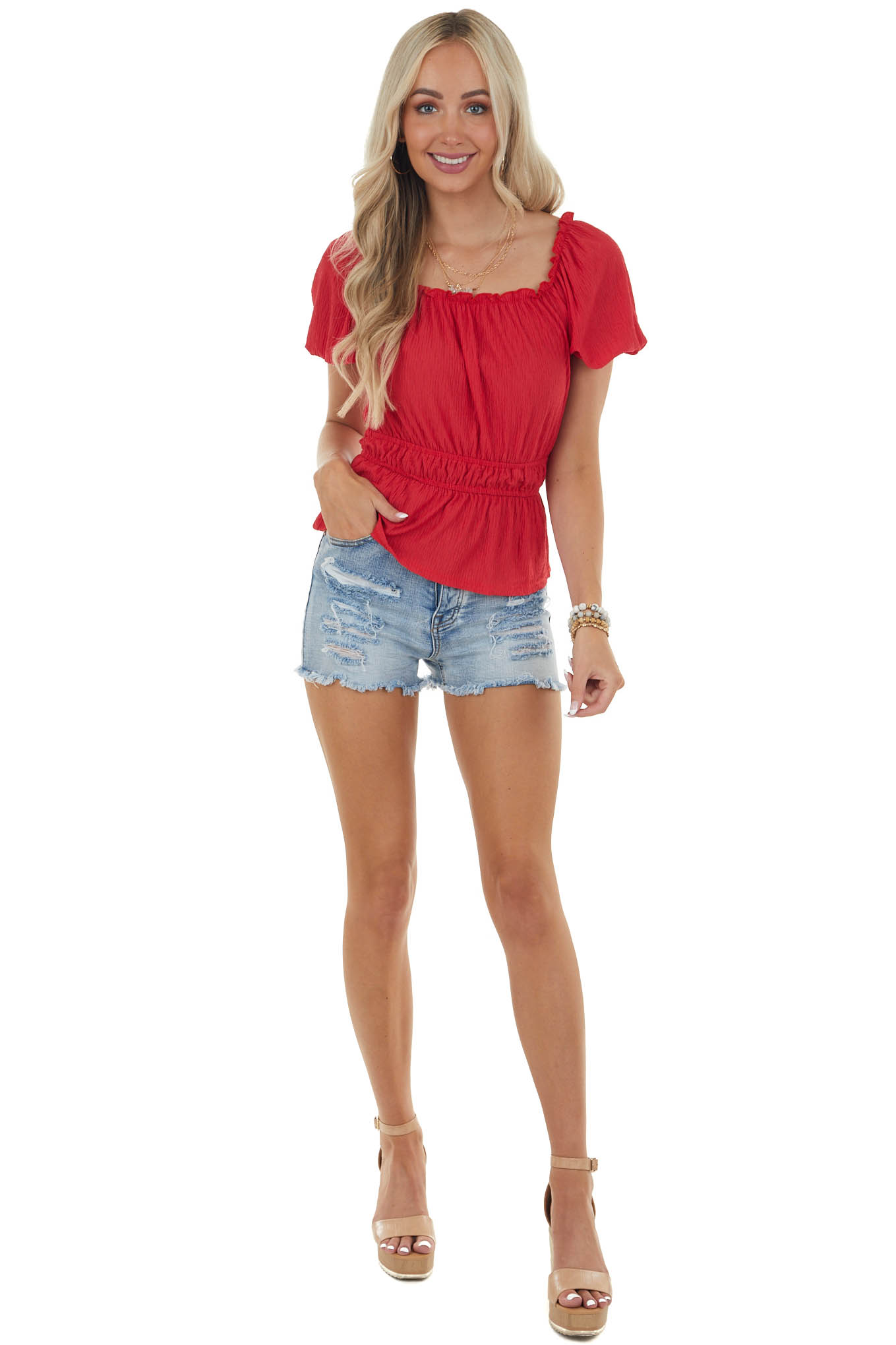Lipstick Red Peplum Blouse with Short Sleeves and Ruffles