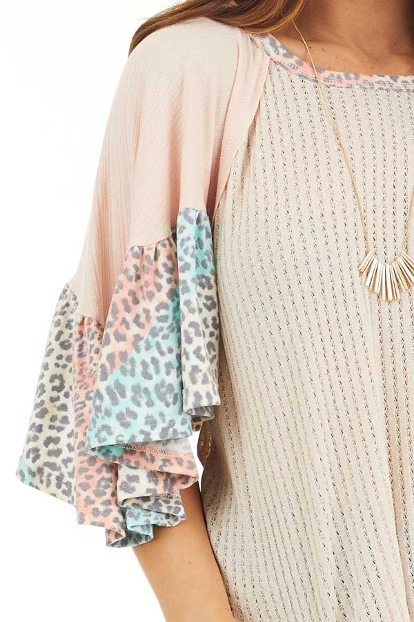 Oatmeal Textured Knit Top with Leopard Print Ruffle Sleeves detail