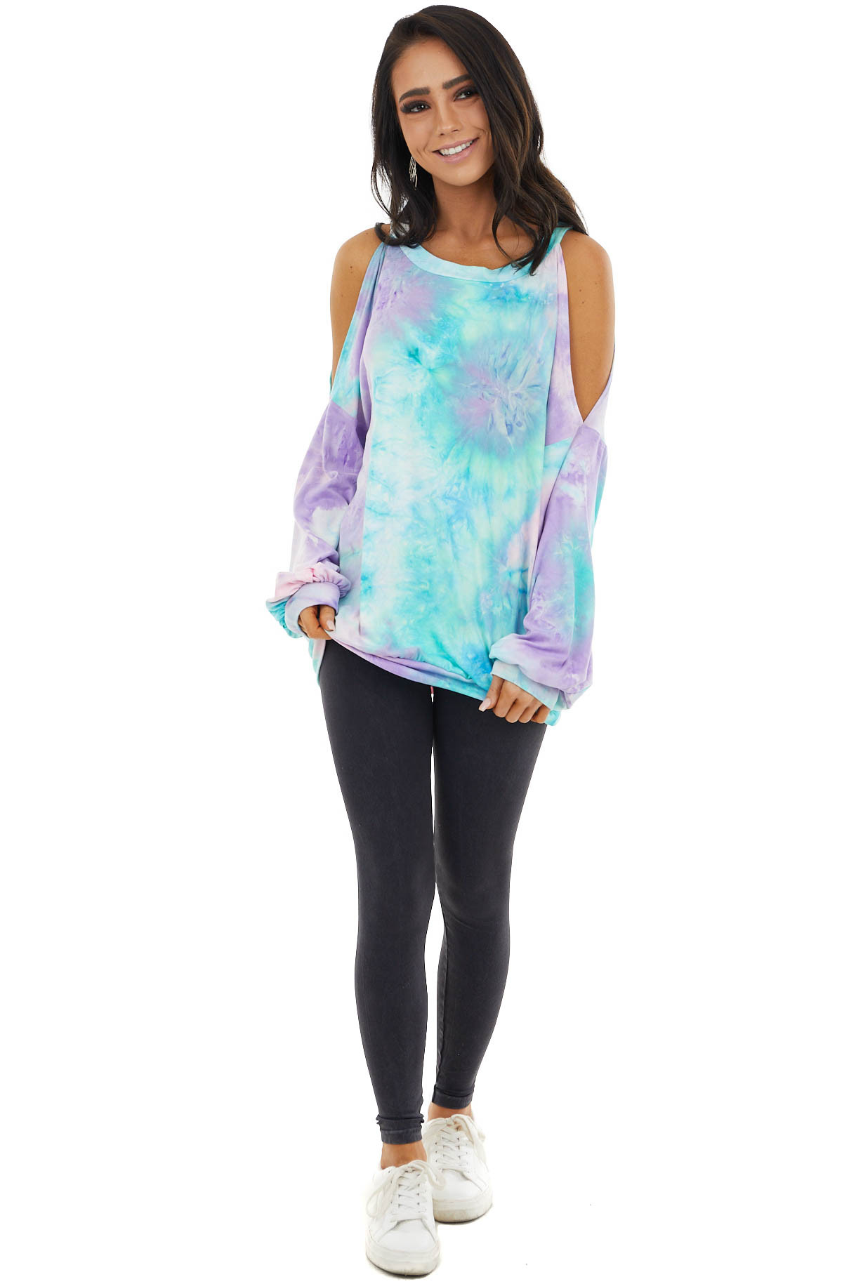 Multicolor Tie Dye Long Sleeve Top with Cold Shoulders