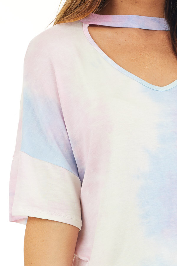 Baby Pink and Sky Blue Tie Dye Top with Choker Cutout Detail detail