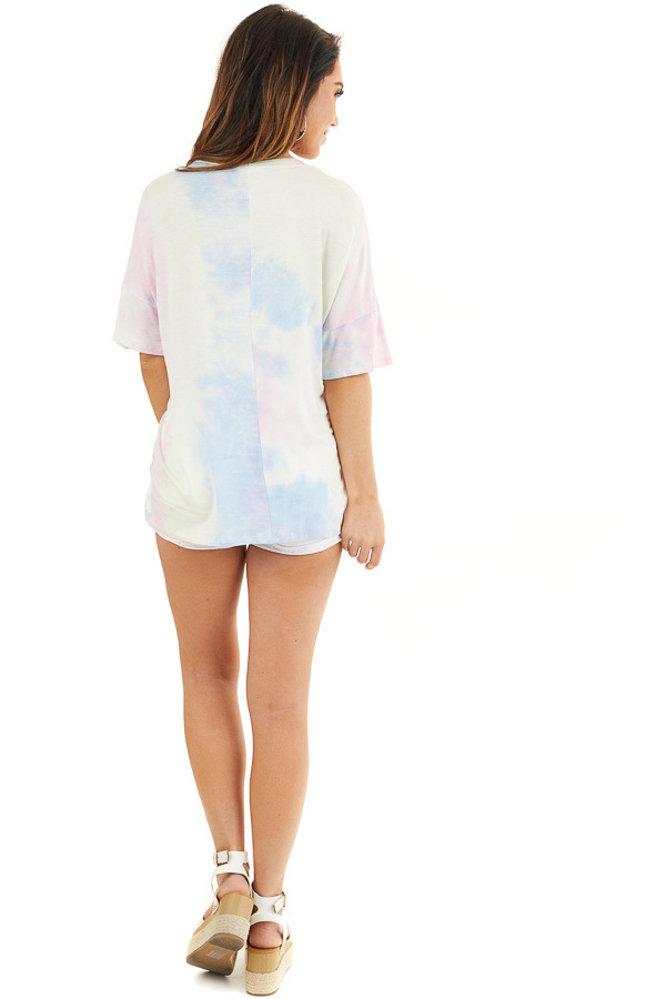 Baby Pink and Sky Blue Tie Dye Top with Choker Cutout Detail back full body