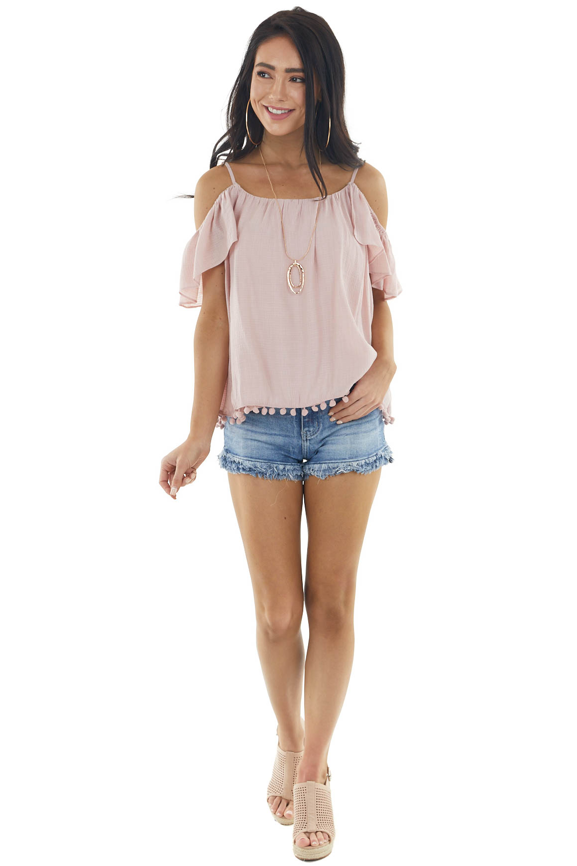 Blush Ruffled Cold Shoulder Woven Top with Pom Pom Details