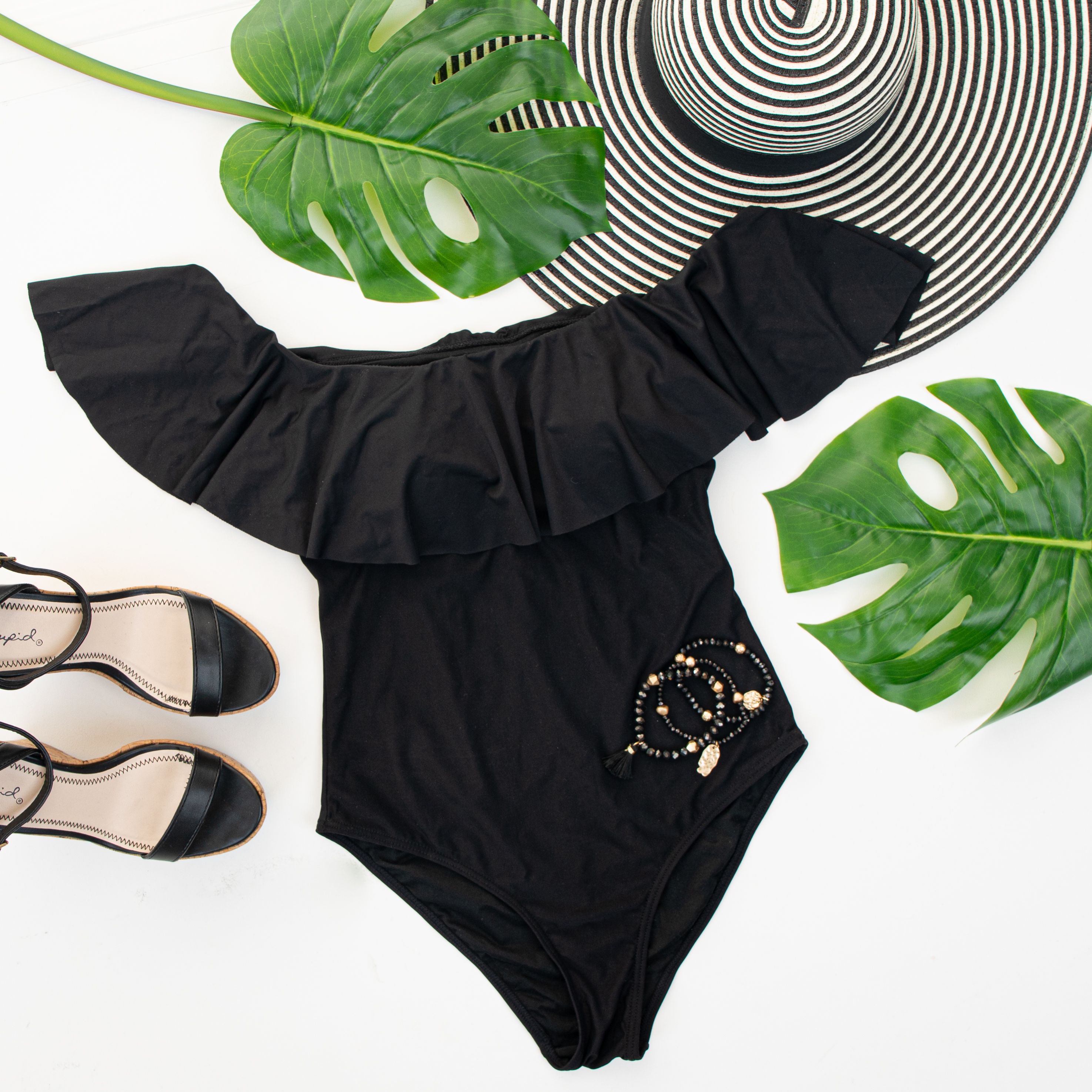 Black Off the Shoulder Swimsuit with Ruffle Overlay
