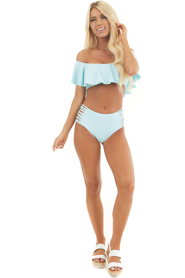 Sky Blue Off Shoulder Bikini Set with Strappy Details front full body