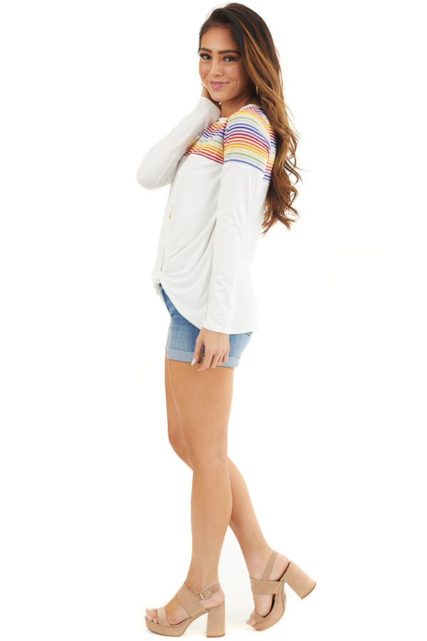 Pearl Long Sleeve Top with Front Knot and Rainbow Contrast side full body