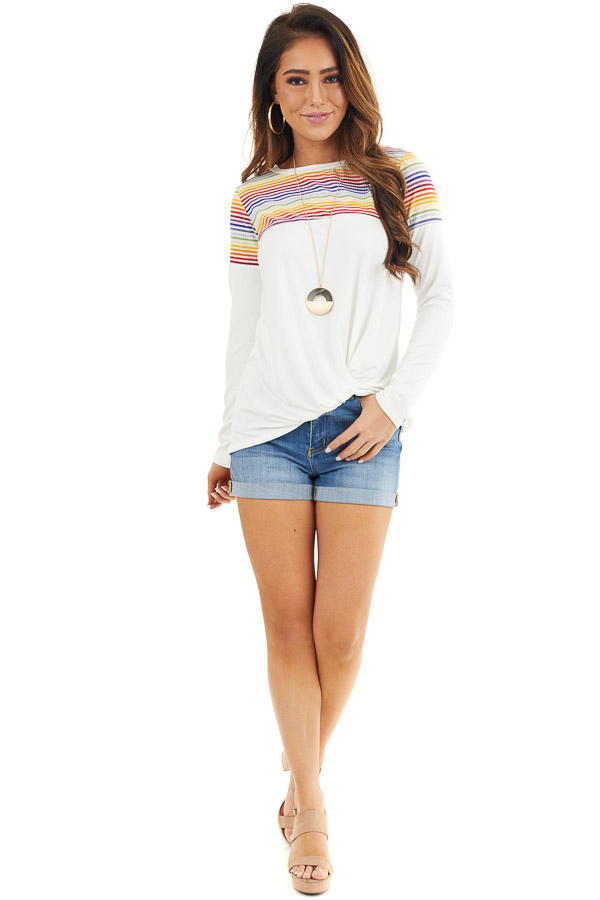 Pearl Long Sleeve Top with Front Knot and Rainbow Contrast front full body