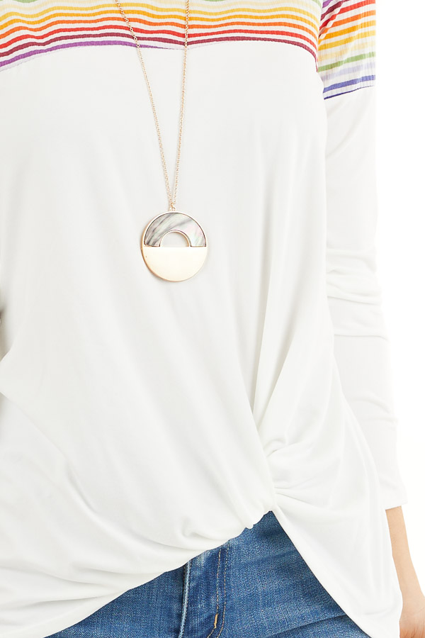 Pearl Long Sleeve Top with Front Knot and Rainbow Contrast detail