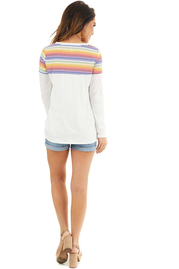 Pearl Long Sleeve Top with Front Knot and Rainbow Contrast back full body