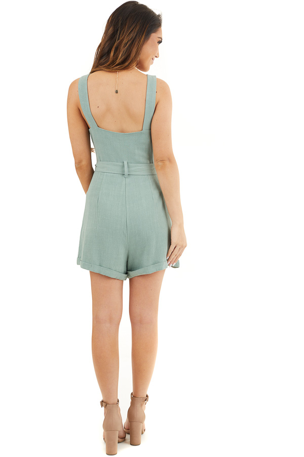 Sage Sleeveless Button Up Romper with Pockets and Tie Detail back full body