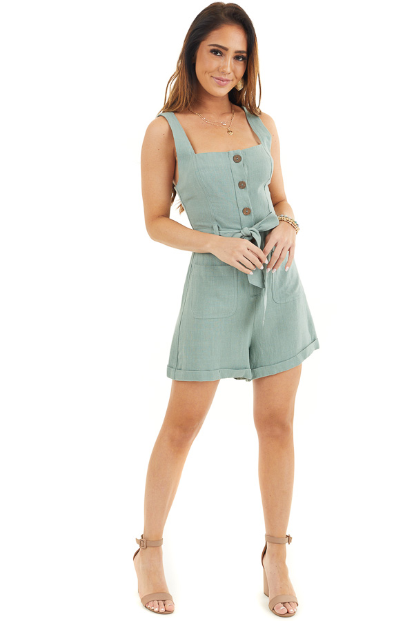 Sage Sleeveless Button Up Romper with Pockets and Tie Detail front full body