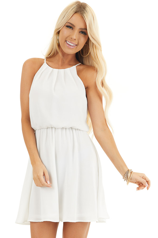 Pearl White Sleeveless Halter Mini Dress with Keyhole Back front close up
