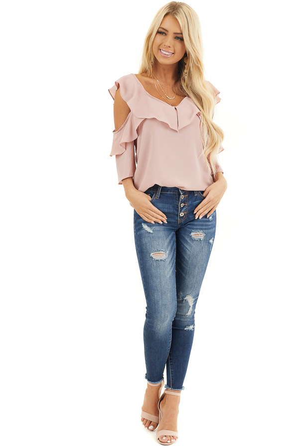 Dusty Blush Cold Shoulder Woven Top with Ruffle Detail front full body