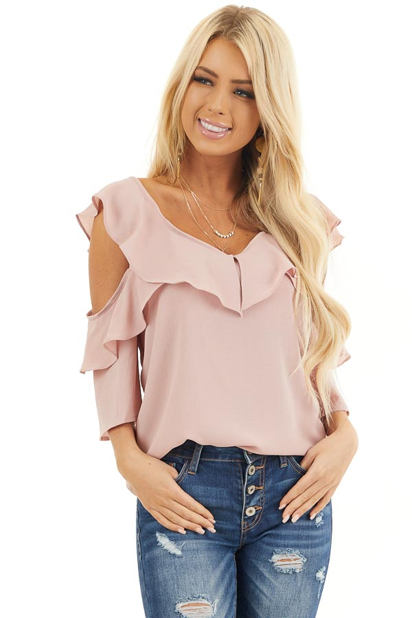 Dusty Blush Cold Shoulder Woven Top with Ruffle Detail front close up