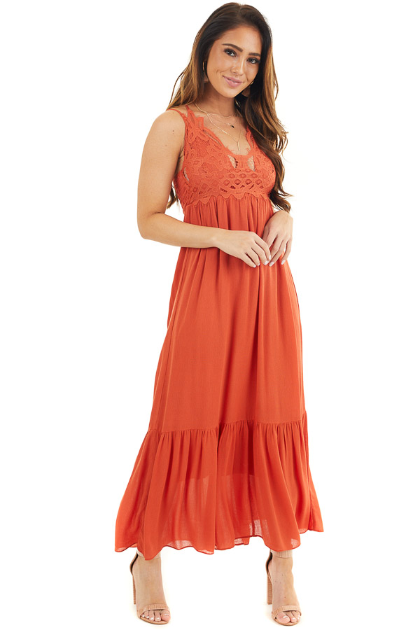 Burnt Orange Sleeveless Maxi Dress with Crochet Lace Details front full body