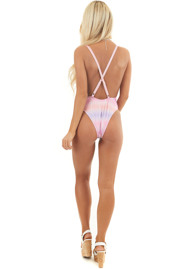 Pink Tie Dye One Piece Swimsuit with Silver Sparkle Details back full body