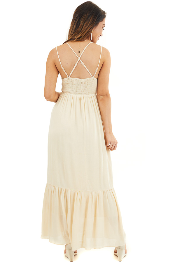 Champagne Sleeveless Maxi Dress with Crochet Lace Details back full body