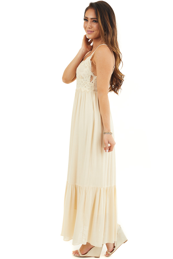 Champagne Sleeveless Maxi Dress with Crochet Lace Details side full body
