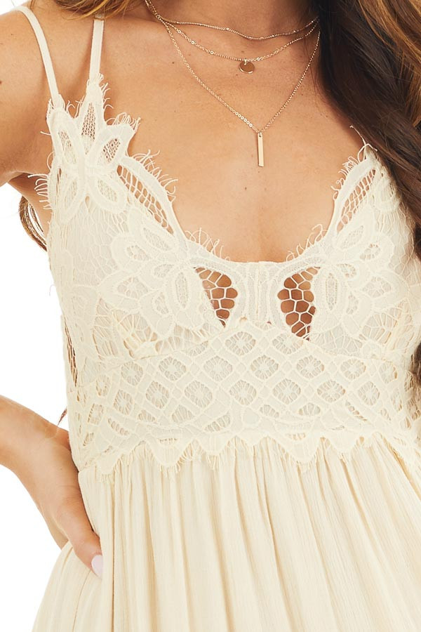 Champagne Sleeveless Maxi Dress with Crochet Lace Details detail
