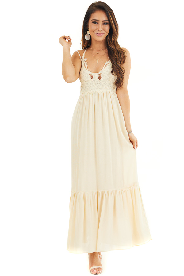 Champagne Sleeveless Maxi Dress with Crochet Lace Details front full body
