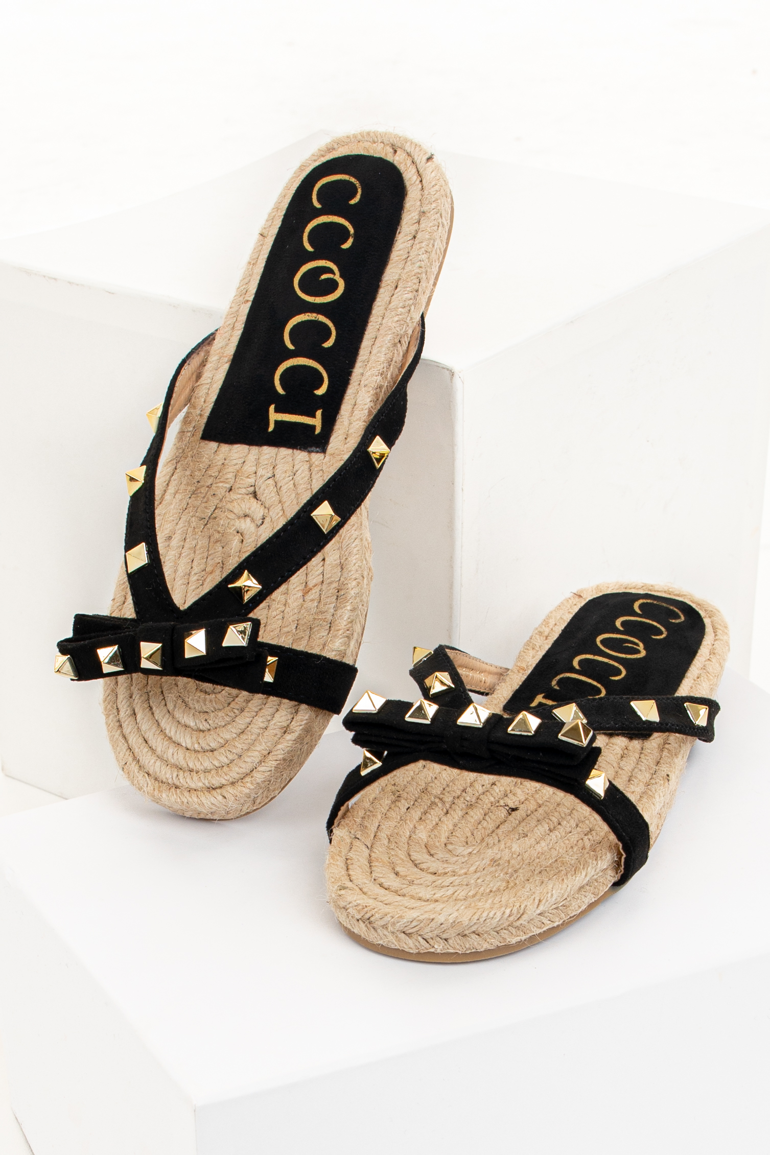 Black and Tan Sandal with Bow and Gold Studs