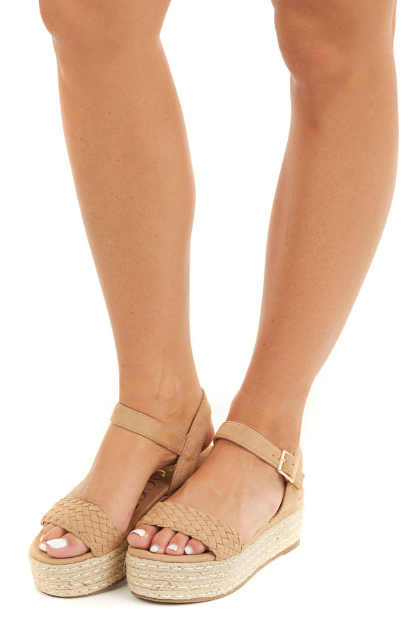 Beige Faux Suede Espadrille Sandal with Weaved Toe Strap side view
