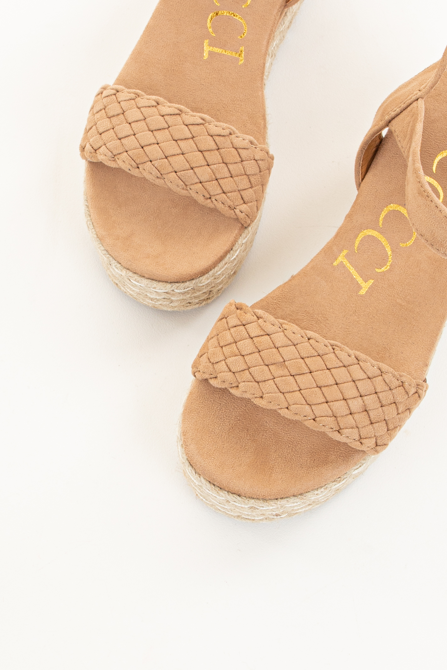 Beige Faux Suede Espadrille Sandal with Weaved Toe Strap