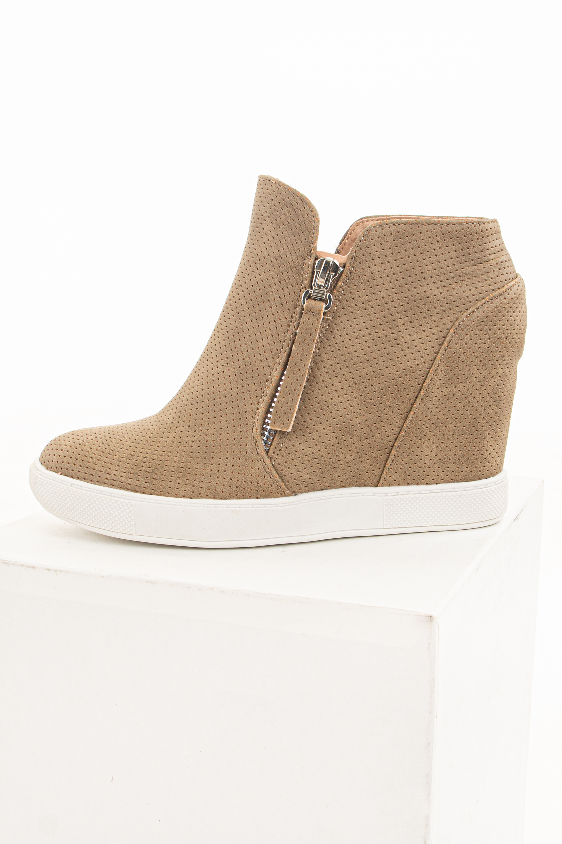 Camel Wedge Sneaker with Side Zippers and Perforated Detail