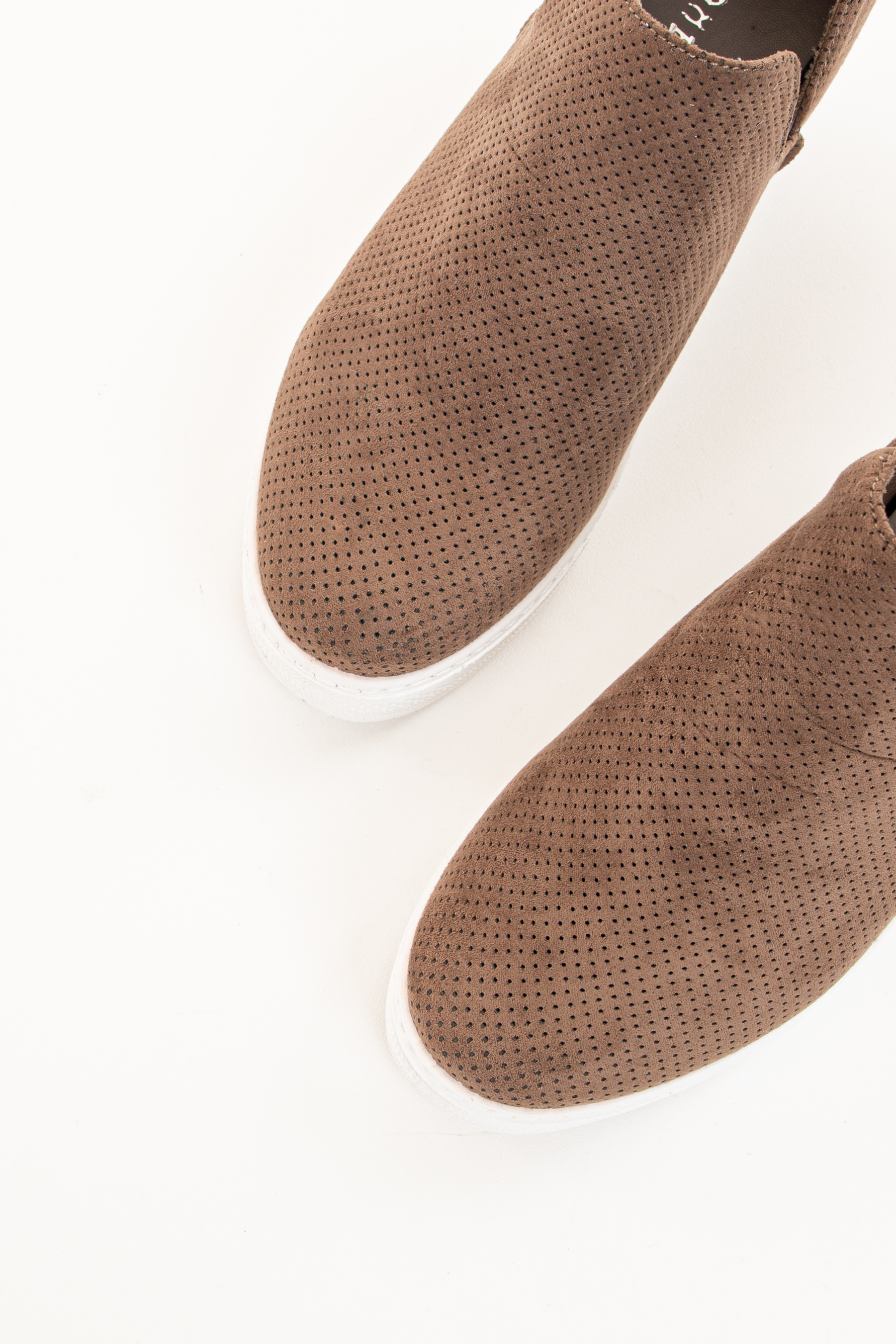 Chocolate Faux Suede Sneaker Wedge with Perforated Detail