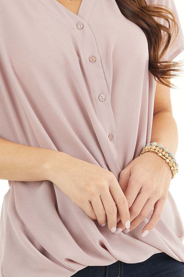 Dusty Rose Short Sleeve Blouse with Button Up Front Detail detail