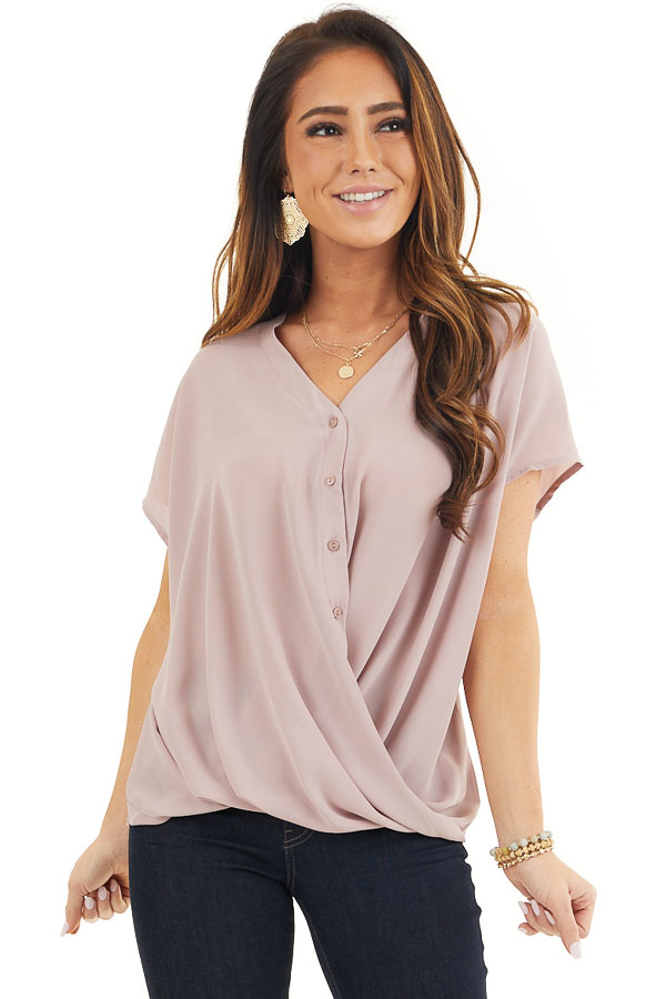 Dusty Rose Short Sleeve Blouse with Button Up Front Detail front close up