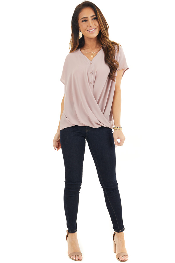 Dusty Rose Short Sleeve Blouse with Button Up Front Detail front full body