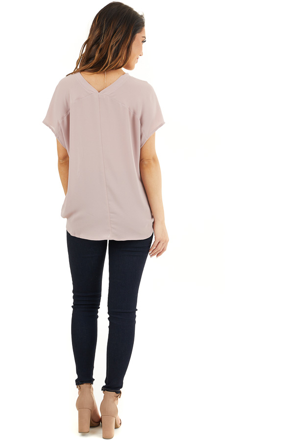 Dusty Rose Short Sleeve Blouse with Button Up Front Detail back full body