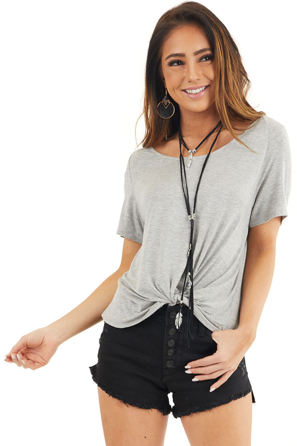 Heather Grey Front Twist Knit Top with Short Raglan Sleeves front close up