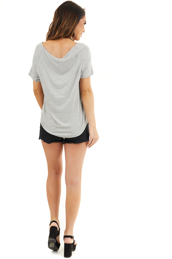 Heather Grey Front Twist Knit Top with Short Raglan Sleeves back full body