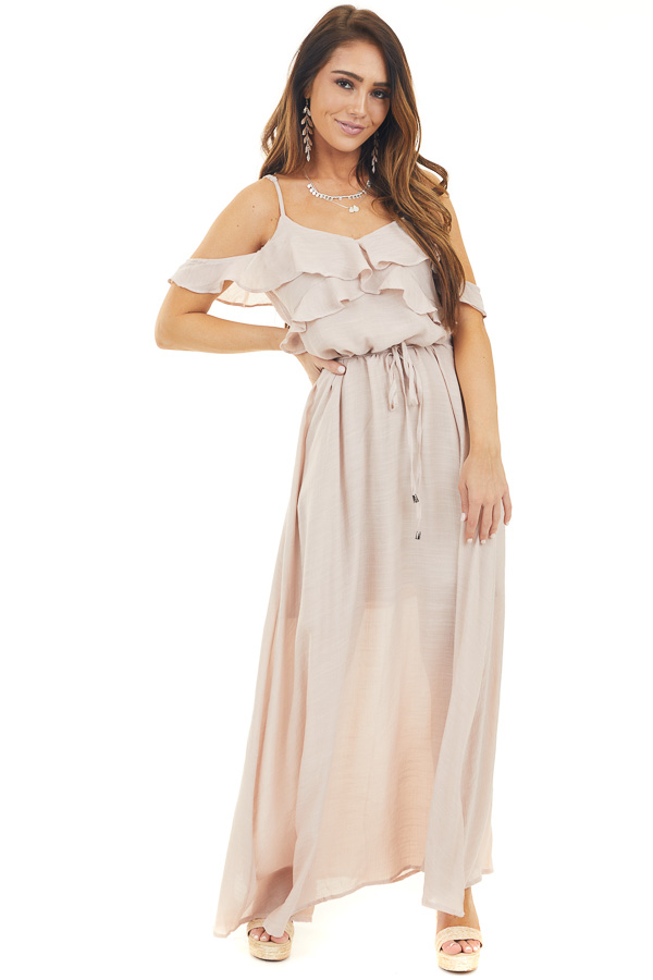 Blush Maxi Dress with Ruffle Cold Shoulders and Waist Tie front full body