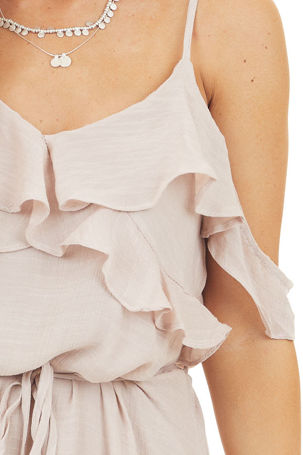 Blush Maxi Dress with Ruffle Cold Shoulders and Waist Tie detail