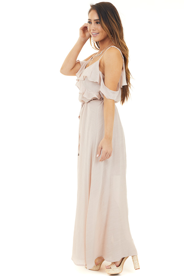Blush Maxi Dress with Ruffle Cold Shoulders and Waist Tie side full body