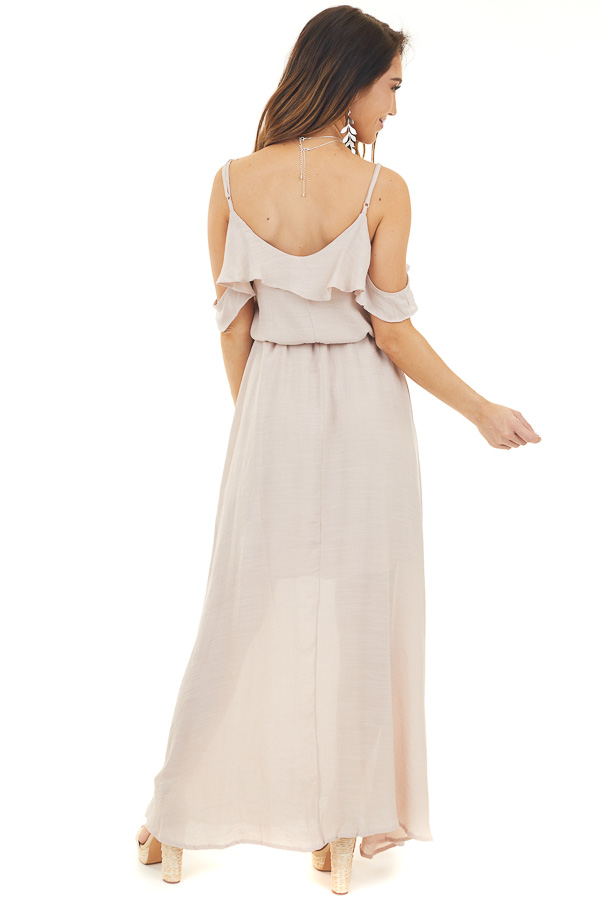 Blush Maxi Dress with Ruffle Cold Shoulders and Waist Tie back full body