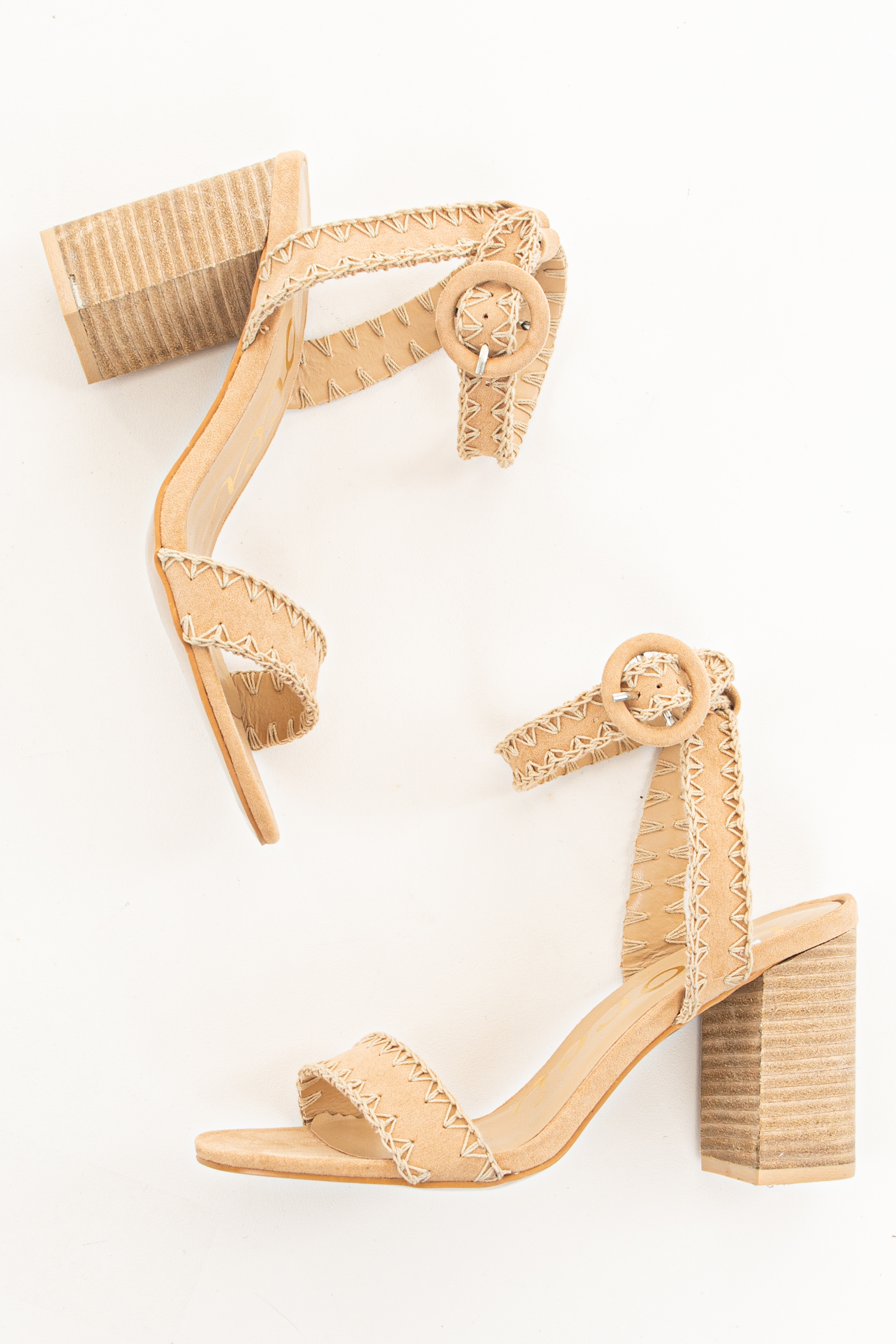 Beige Faux Suede High Heel Sandals with Exposed Stitching