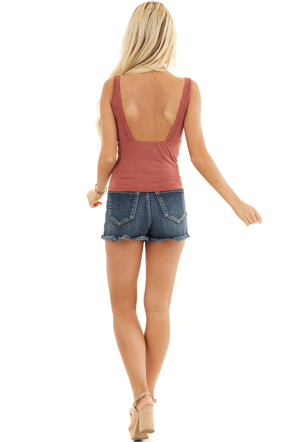 Terracotta Sleeveless Knit Tank Top with Trim Lace Details back full body