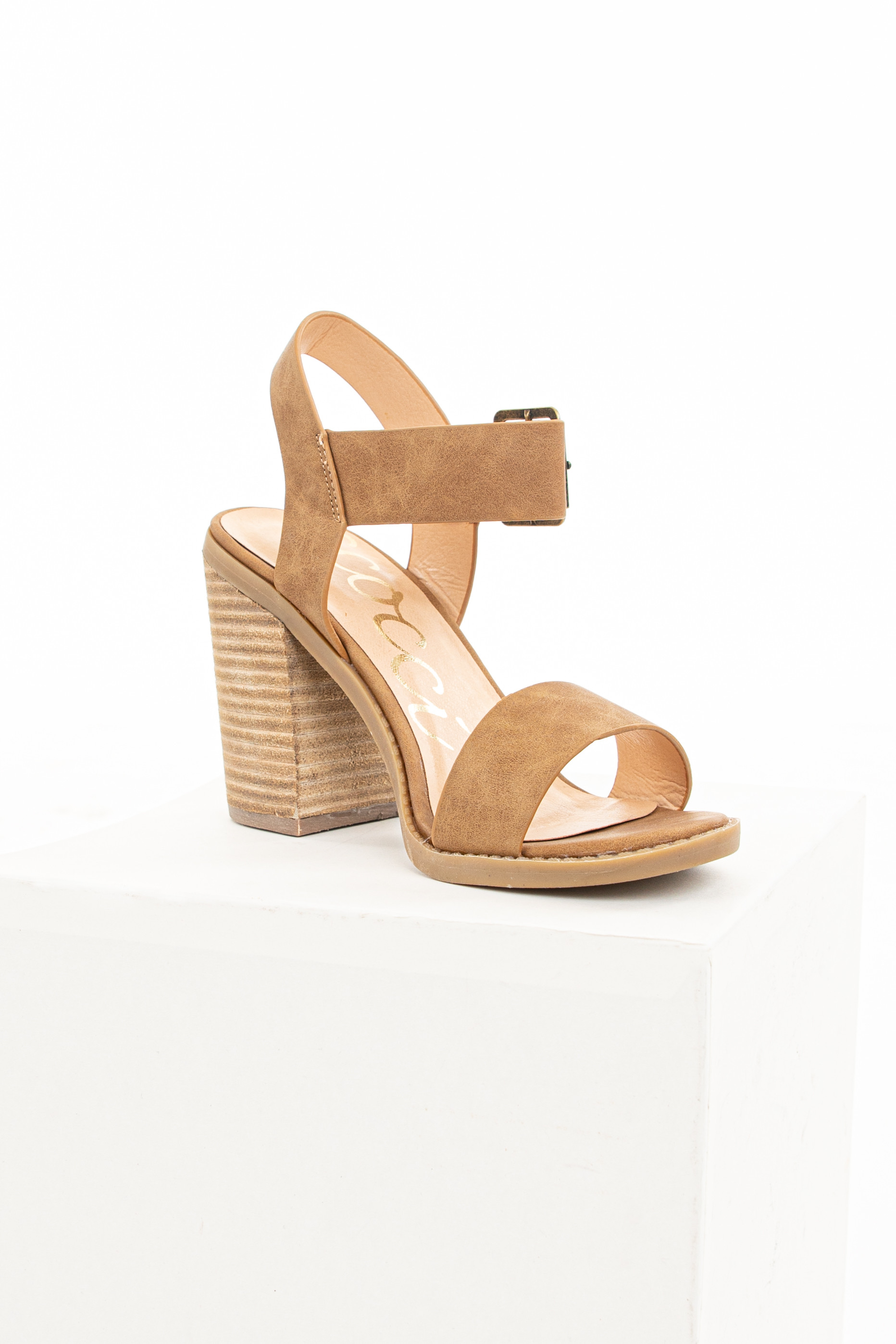 Camel Open Toe Sandal with Chunky Stacked Heel