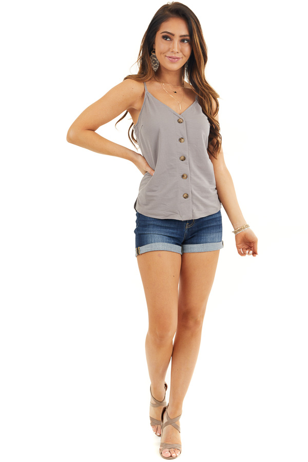 Stone Grey Spaghetti Strap Tank Top with Button up Detail front full body