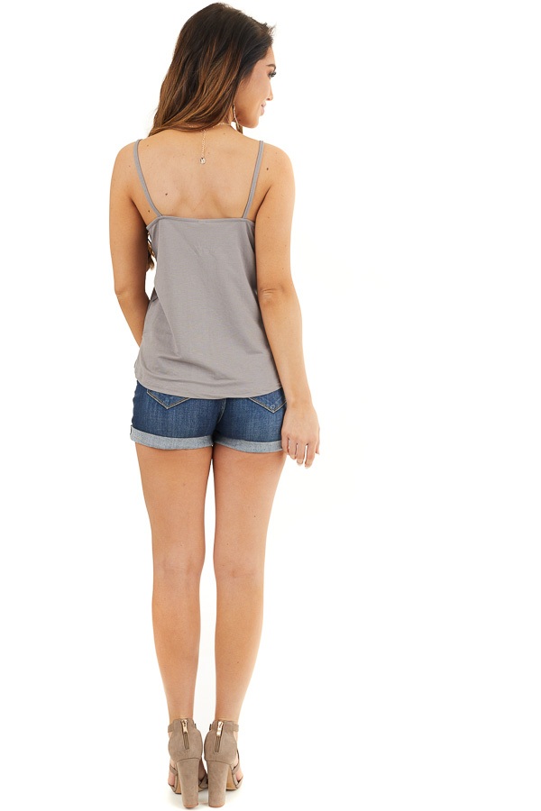 Stone Grey Spaghetti Strap Tank Top with Button up Detail back full body