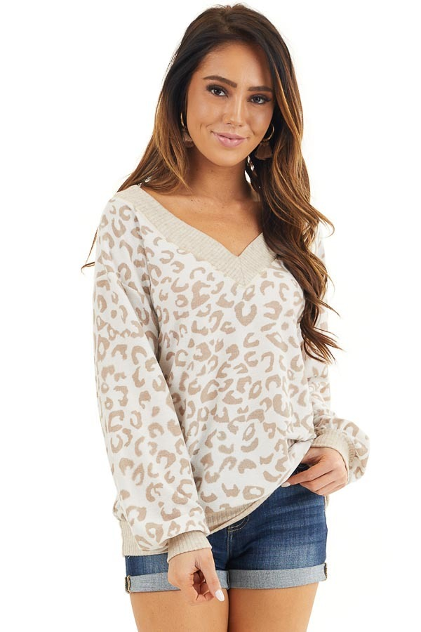 Latte and Cream Leopard Print Long Sleeve Knit Top front close up