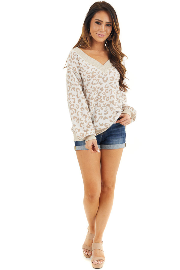 Latte and Cream Leopard Print Long Sleeve Knit Top front full body