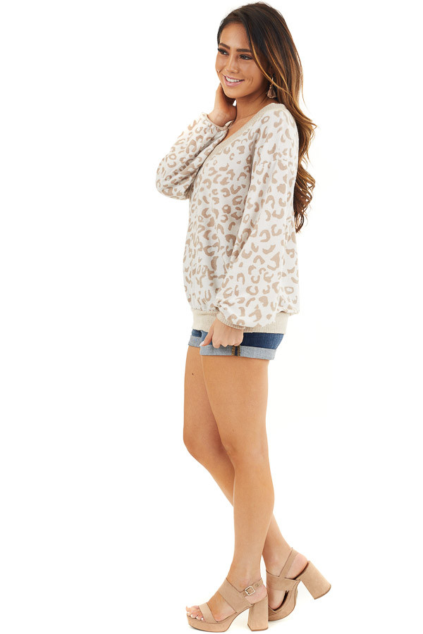 Latte and Cream Leopard Print Long Sleeve Knit Top side full body