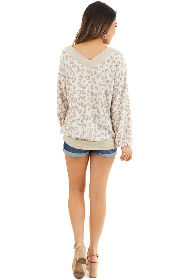 Latte and Cream Leopard Print Long Sleeve Knit Top back full body