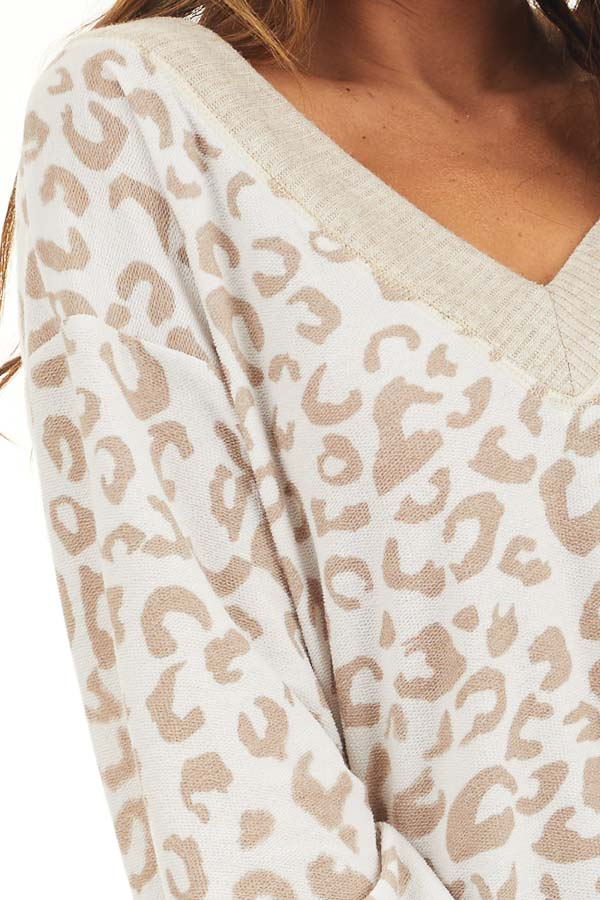 Latte and Cream Leopard Print Long Sleeve Knit Top detail