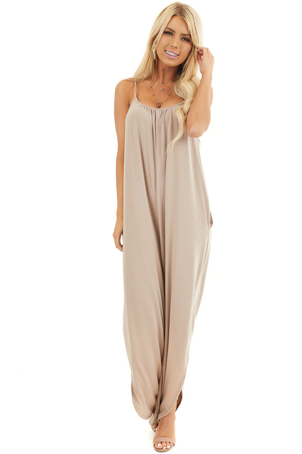 Latte Sleeveless Knit Jumpsuit with Side Slit and Pockets front full body